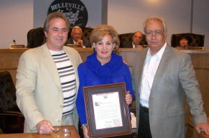 Sandy Lane Nursery school celebrated 40 years of Academic Excellence. From left to right Belleville Councilman Michael Nicosia, Elaine Perna, and Nick Perna.